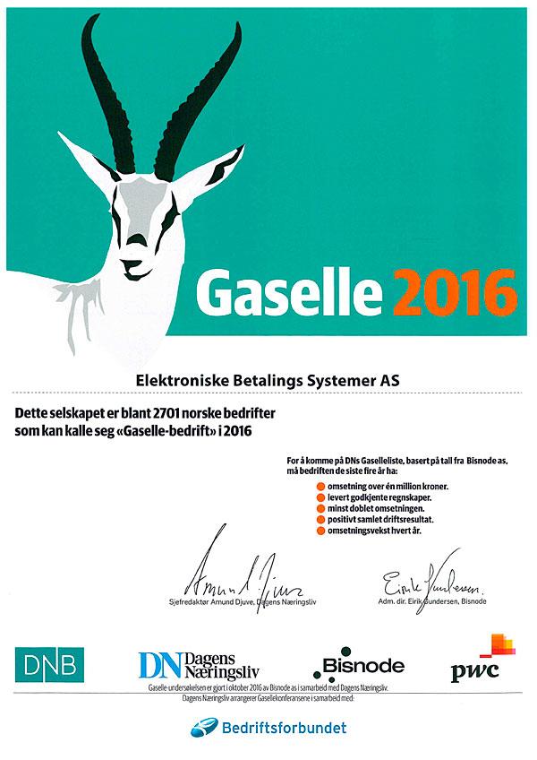 Elektroniske Betalings Systemer As er Gaselle bedrift igjen! i 2016. Utmerkelse.